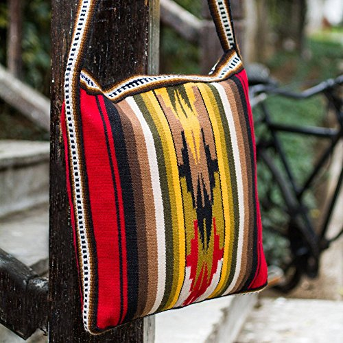 NOVICA Multicolored Alpaca Shoulder Bag, Andean Warmth'