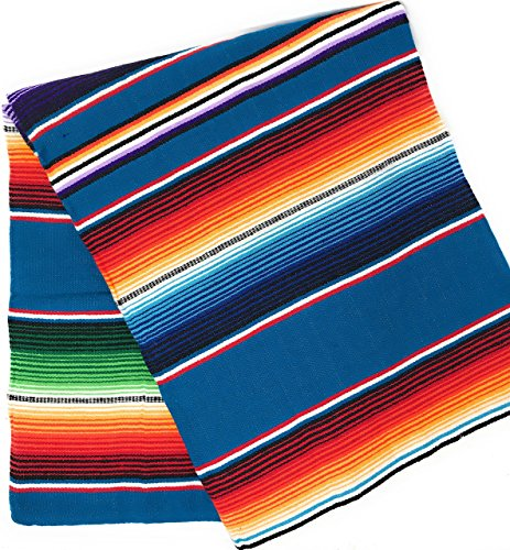 Mexitems Large Authentic Mexican Blanket Colorful Serape Blanket 7' X 5' (Pick Your Color) (Blue)