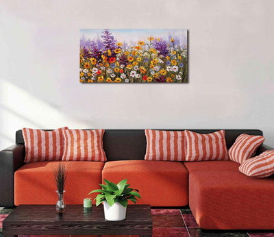 "Ardemy Canvas Wall Art Daisy Colorful Bloosom Flowers Artwork Painting Prints Modern Landscape, Purple Floral Picture Framed for Living Room Bedroom Kitchen Dinning Room Office Home Decor- 40""x20"""