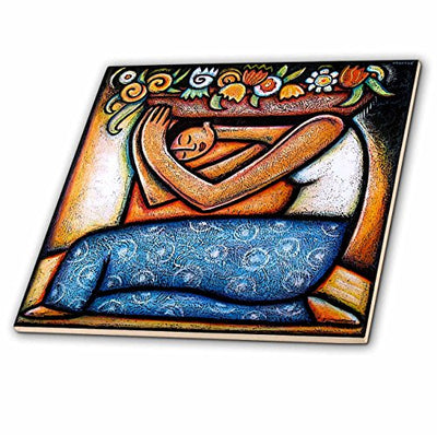 3dRose Flower Girl Mexican Art Colorful Ceramic Tile, 12-Inch