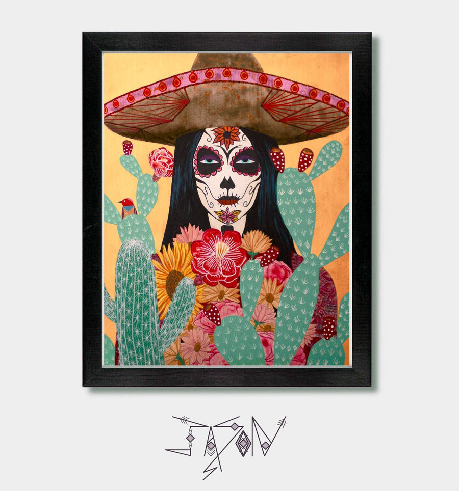 Dia De Los Muertos - by Artist Jason Smith - Day of the Dead, Mexican Folk Art, Mexican Decor, Mexico, Skull, Sugar Skull, Southwest, Southwestern, Witchy Decor, Gothic Decor, Frieda Kahlo, La Catrina