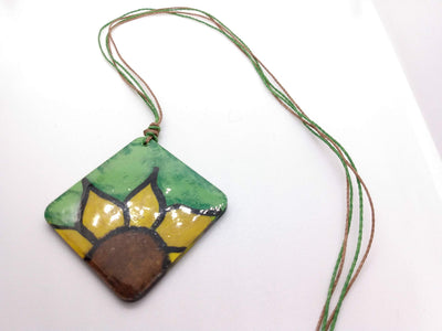 Hand painted sunflower necklace