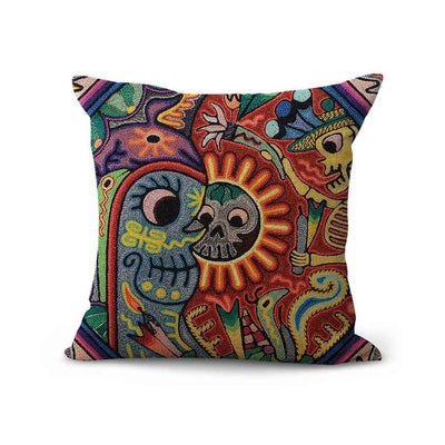 Artsocket Set of 4 Linen Throw Pillow Covers Mexican Huichol Decorative Pillow Cases Home Decor Square 18x18 inches Pillowcases