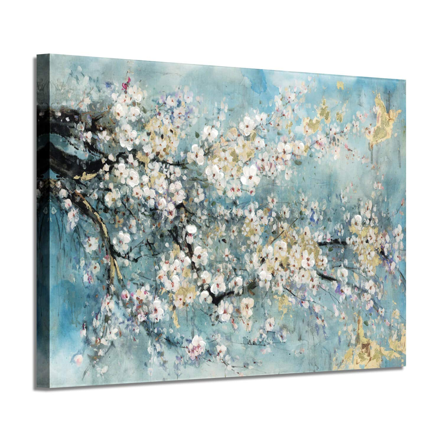 Abstract Canvas Painting Flower Picture: Teal Floral Golden Foil Wall Art on Canvas for Office (36''W x 24''H,Multi-Sized)