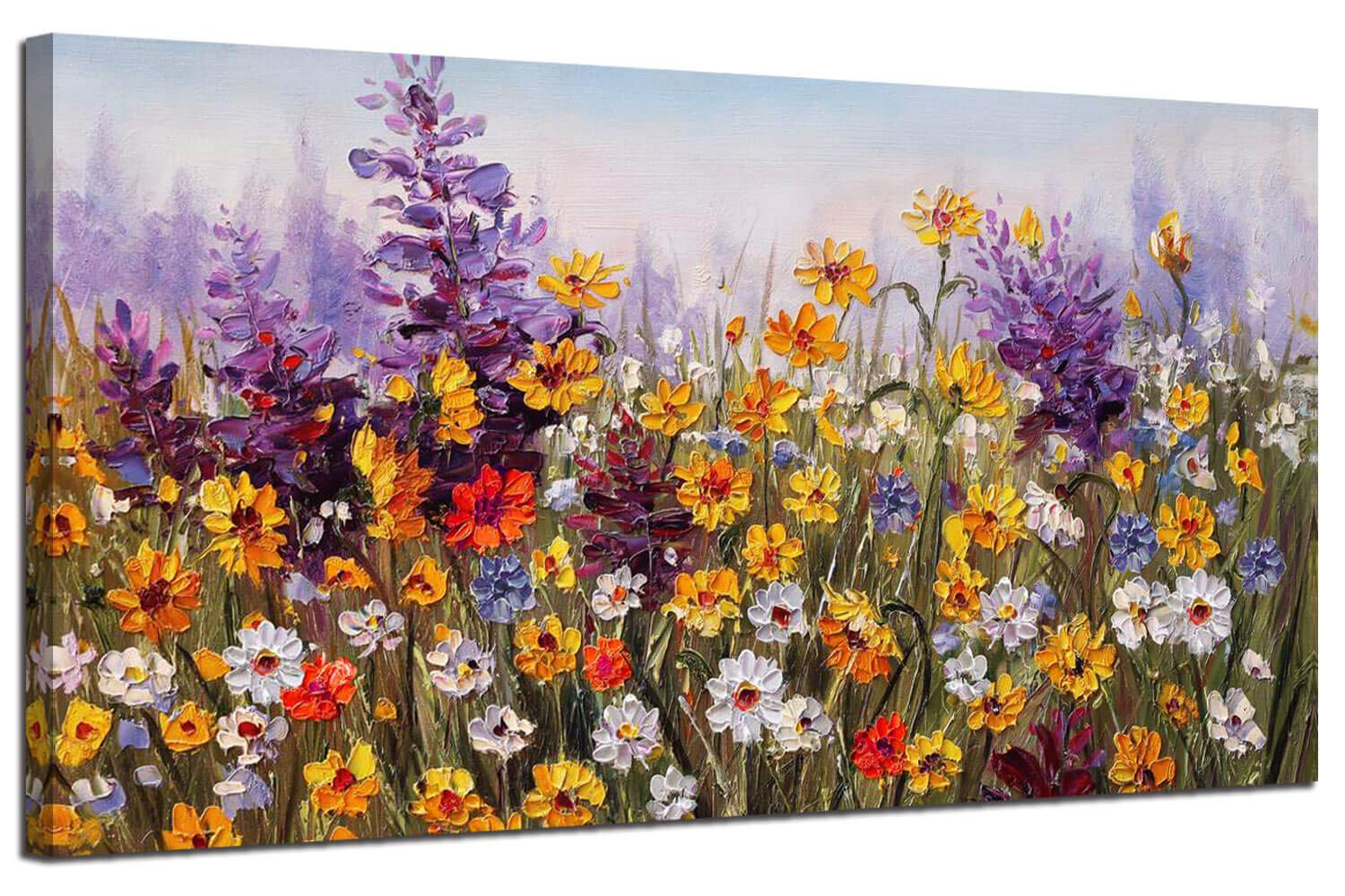 Ardemy Canvas Wall Art Daisy Colorful Bloosom Flowers Artwork Painting Prints Modern Landscape, Purple Floral Picture Framed for Living Room Bedroom Kitchen Dinning Room Office Home Decor- 40