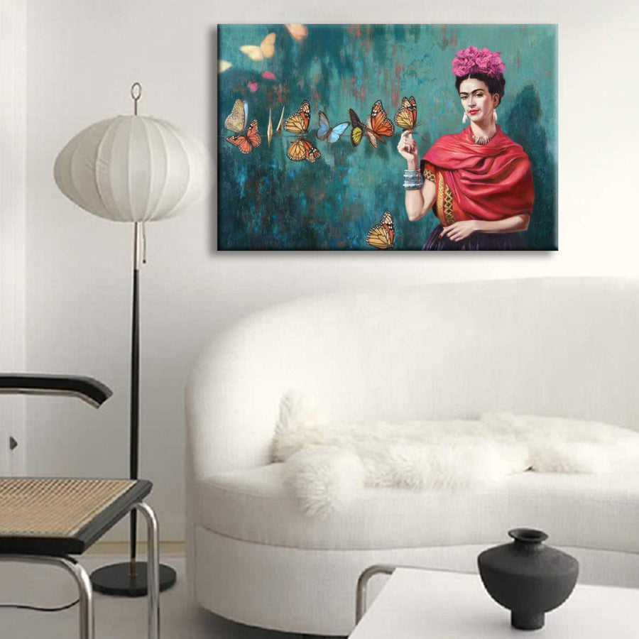 YKY Frida a Kahlo Self-Portrait Canvas Wall Art for Living Room Poster Decoration Painting Wall Art Bedroom Poster Modern Home Decor (Framed, 24x36inch(60x90cm))