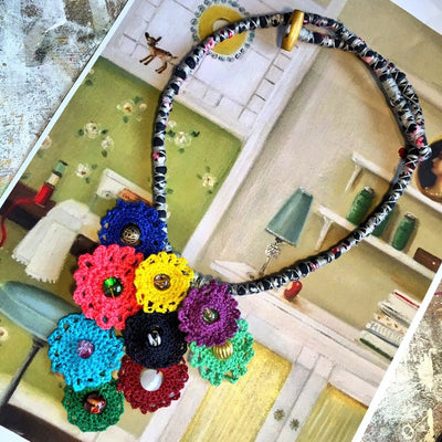 Crochet Flowers and Stones Necklace