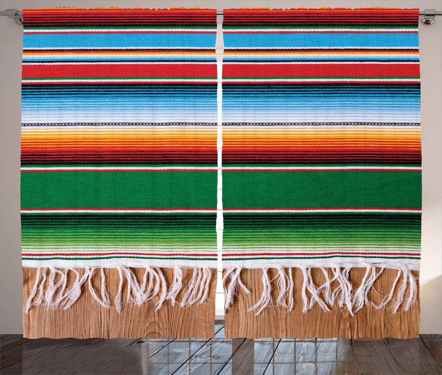 "Ambesonne Mexican Curtains, Colorful Boho Serape Pattern with Horizontal Stripes and Lines Cultures Picture, Living Room Bedroom Window Drapes 2 Panel Set, 108"" X 84"", Red Green"