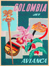 A SLICE IN TIME Colombia Jet Avianca Colombian South America Vintage Travel Home Collectible Wall Decor Advertisement Art Poster Print. Measures 10 x 13.5 inches.
