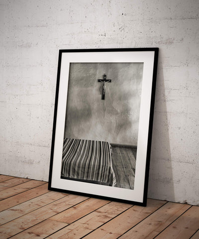 Black and White Crucifix on Bedroom Wall Fine Art Print - Murillo, Colombia