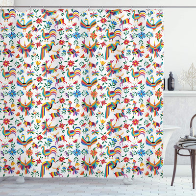 "Ambesonne Mexican Shower Curtain, Traditional Latin American Art Design with Natural Inspirations Flowers and Birds, Cloth Fabric Bathroom Decor Set with Hooks, 75"" Long, White Blue"