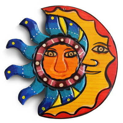 Sun And Moon Wall Decor, Outdoor Wall Decor, Mexican Decor, Patio Wall Decorations, Mexican Wall Art, Outdoor Wall Art, Mexican Wall Decor, Summer Wall Decor, Mexican Art Wall Decor, Wood Decor, Moon Decor 8.25in