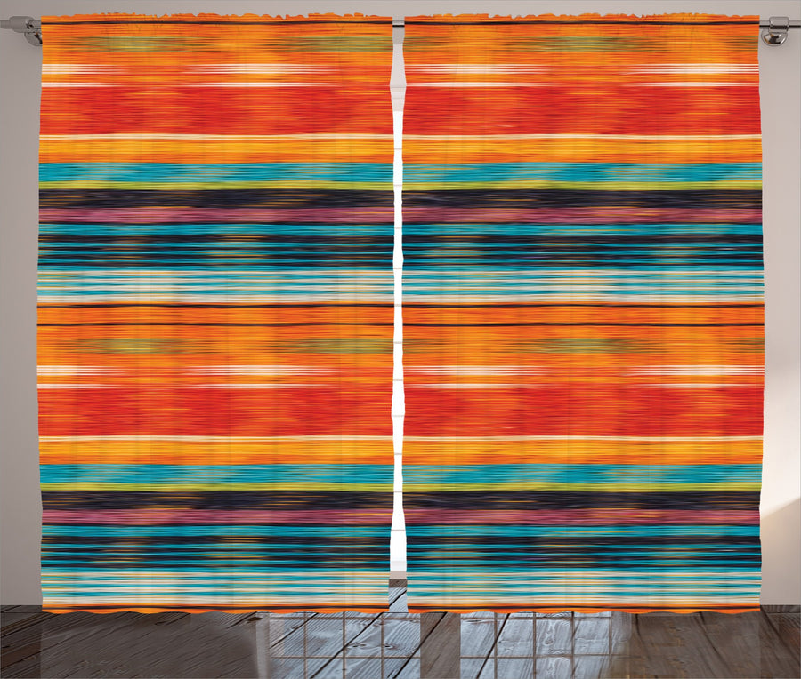 "Ambesonne Mexican Curtains, Abstract Vibrant Vintage Aztec Motif Gradient Blurred Lines Ecuador Crafts Image, Living Room Bedroom Window Drapes 2 Panel Set, 108"" X 84"", Orange"