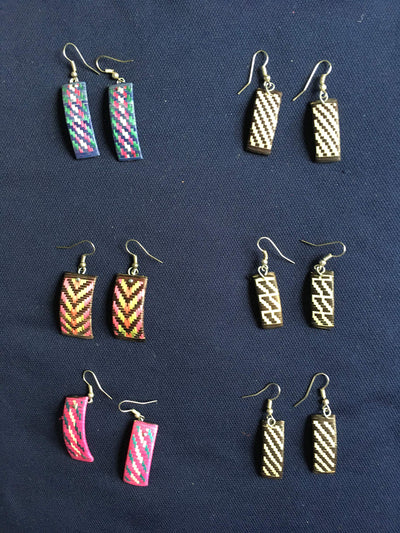 "Handmade earrings""caña flecha"" made in Colombia Southamerica"