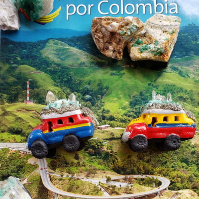 Handmade Colombian Chiva Bus with Emeralds, Pyrite and Quartz. Raw Emeralds. Natural Pyrite. Bus Collection. A Bus full of Hope and Love! Family Protection Stones.