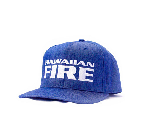 Hawaiian Fire Stacked Baseball Hat - Blue Denim
