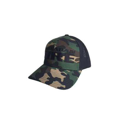 Hawaiian Fire Stacked Baseball Snapback Hat - Camo