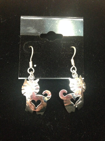 Cat Earrings with Heart Cut-Out