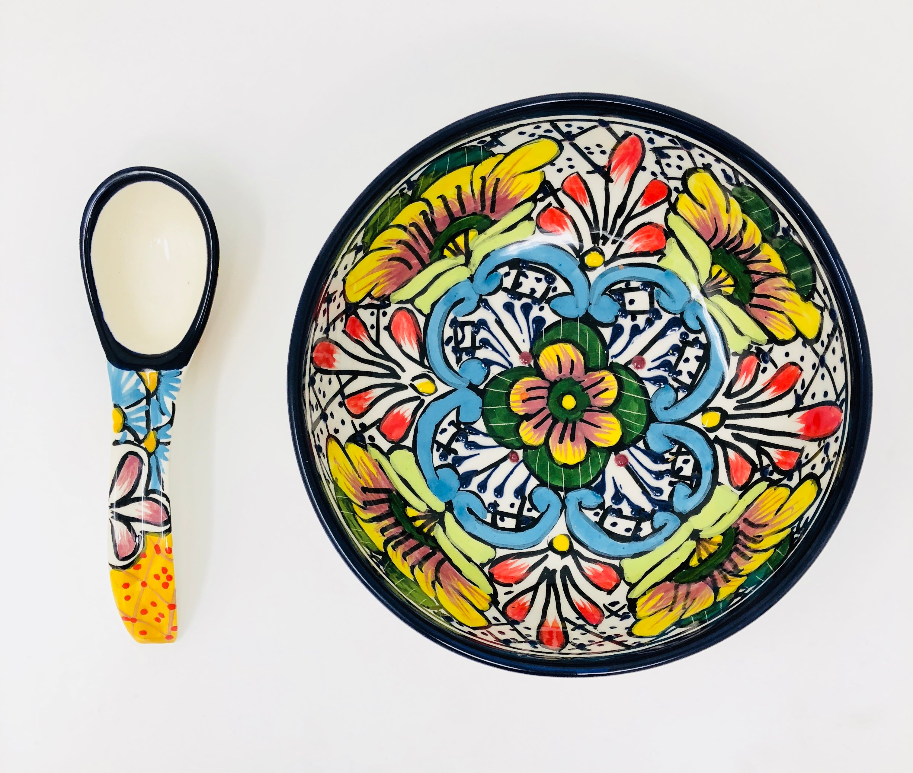 Talavera Molcajete Serving Bowl W/ Spoon