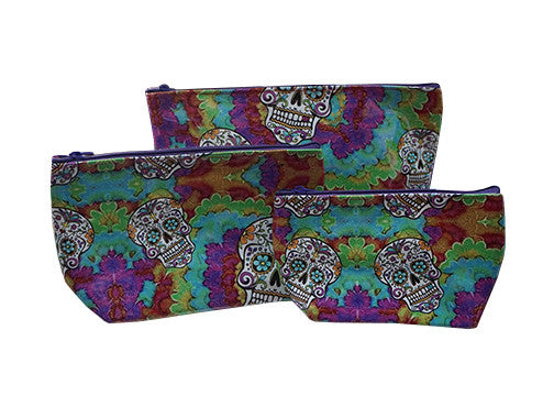 Multi-Colored Sugar Skull Make-up Bag