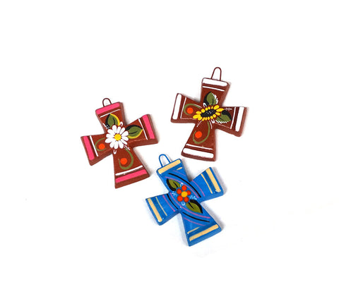 Miniature Painted Clay Crosses
