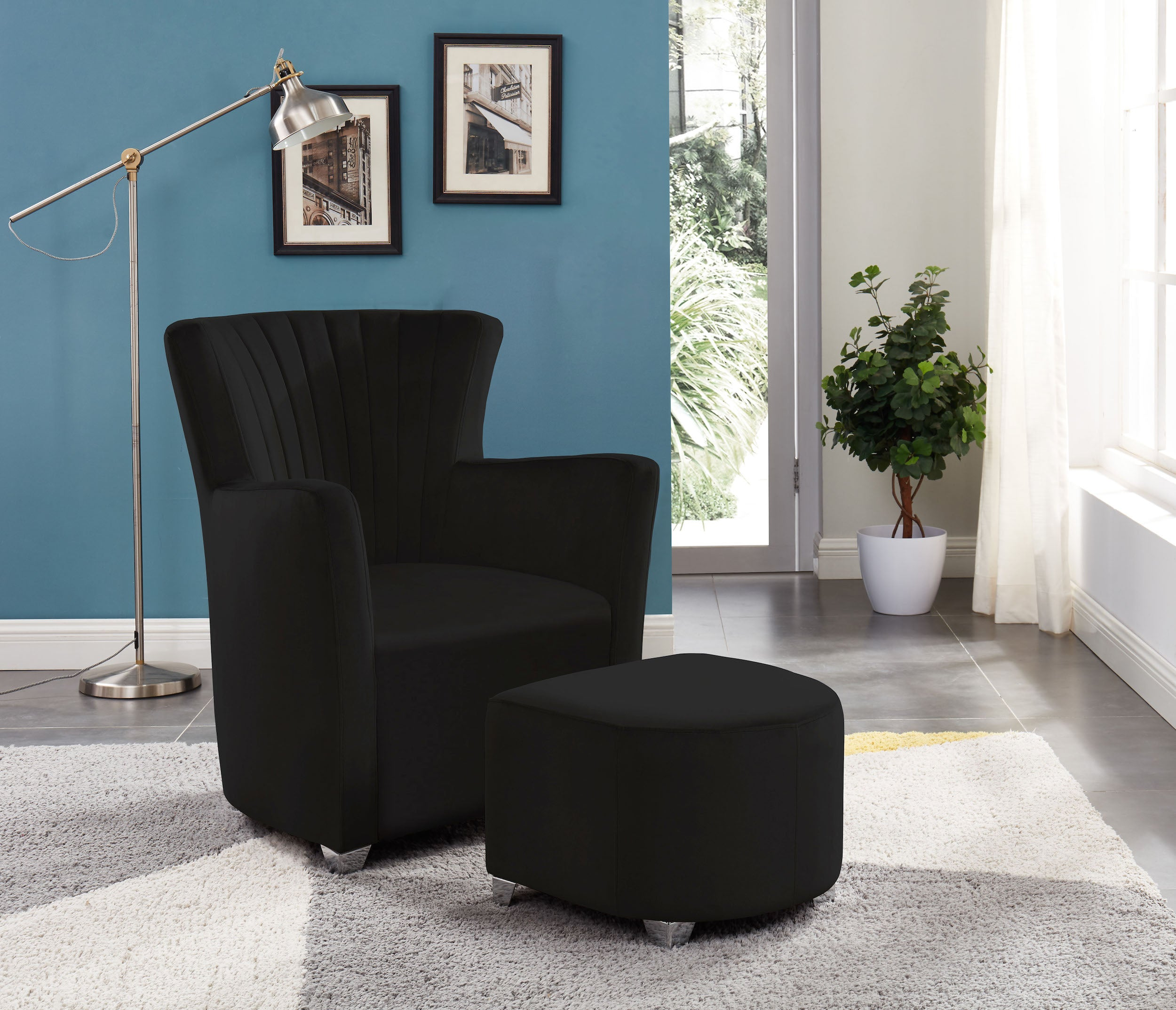 Sylvia Accent Chair & Ottoman Set - Black Velvet | Candace and Basil Furniture