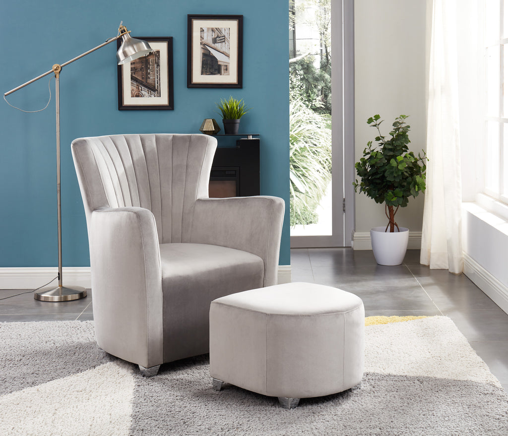 Sylvia Accent Chair & Ottoman Set - Grey Velvet | Candace and Basil Furniture
