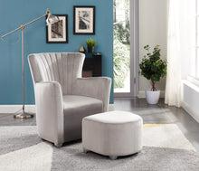 Load image into Gallery viewer, Sylvia Accent Chair & Ottoman Set - Grey Velvet | Candace and Basil Furniture