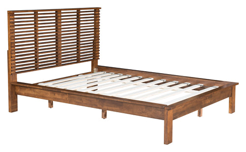 Euro Queen Platform Bed - Walnut Finish