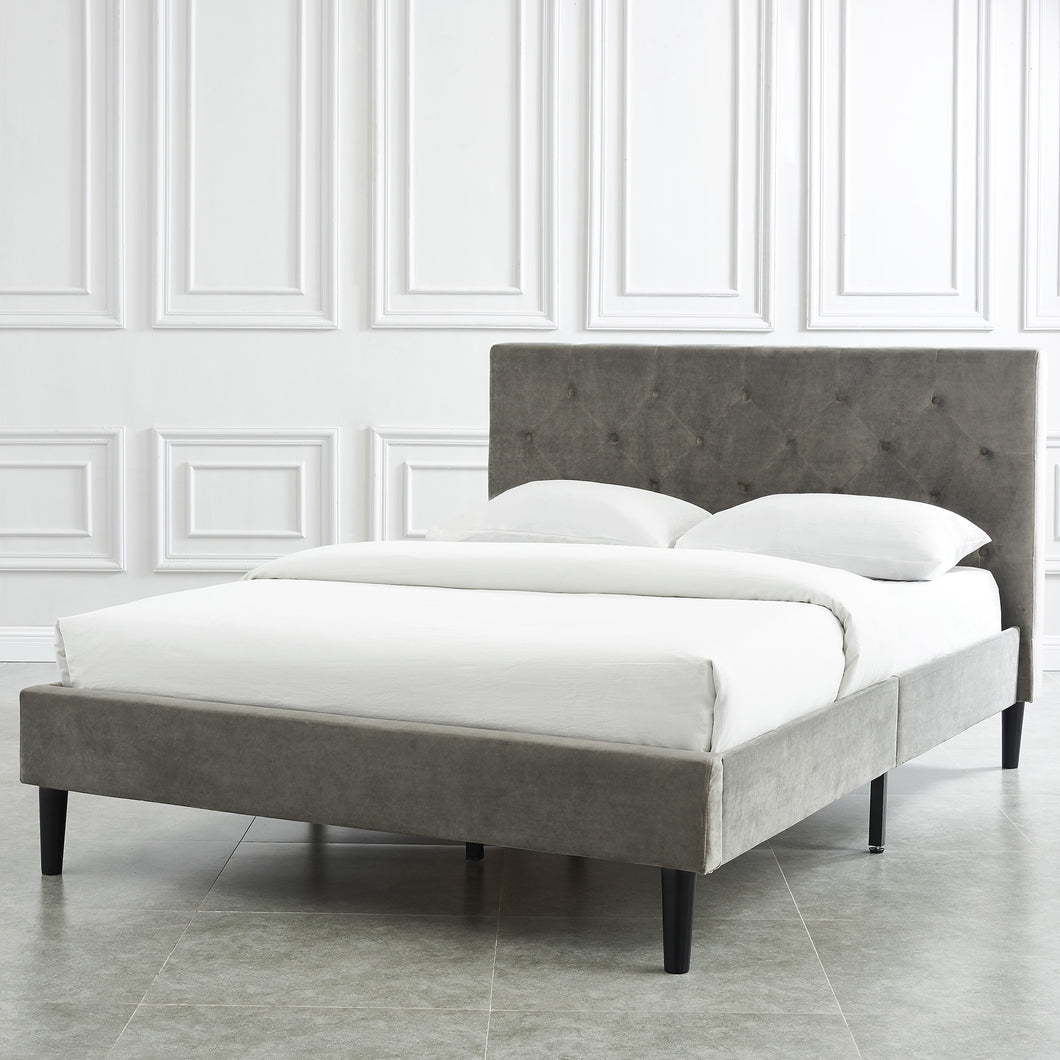 Allison Platform Queen Bed - Grey Velvet