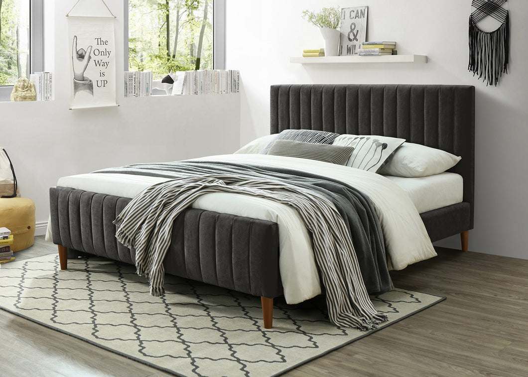 Hannah Platform King Bed - Dark Grey