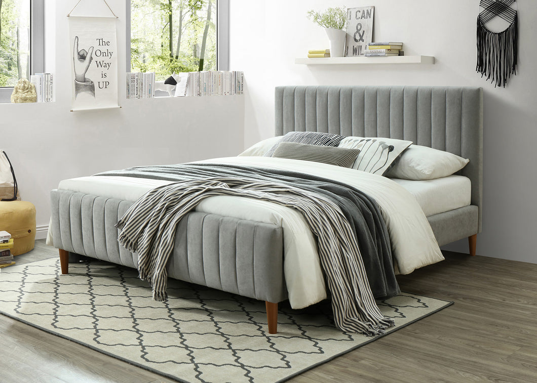 Hannah Platform Queen Bed - Grey