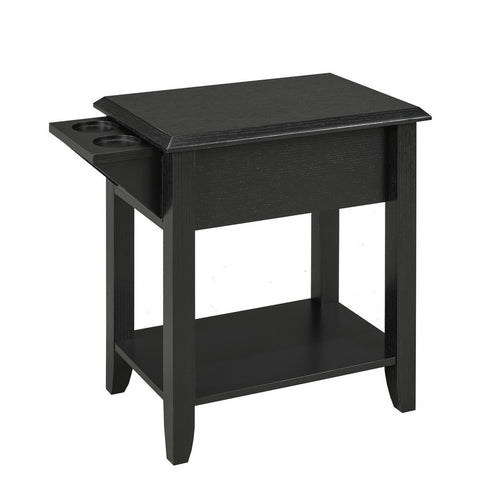 Carmen Side Table w/ Cupholders - Black | Candace and Basil Furniture
