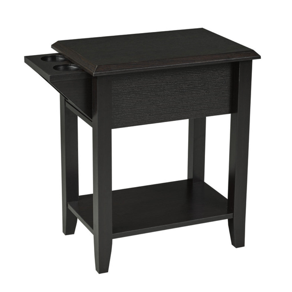 Carmen Side Table w/ Cupholders - Dark Cherry | Candace and Basil Furniture