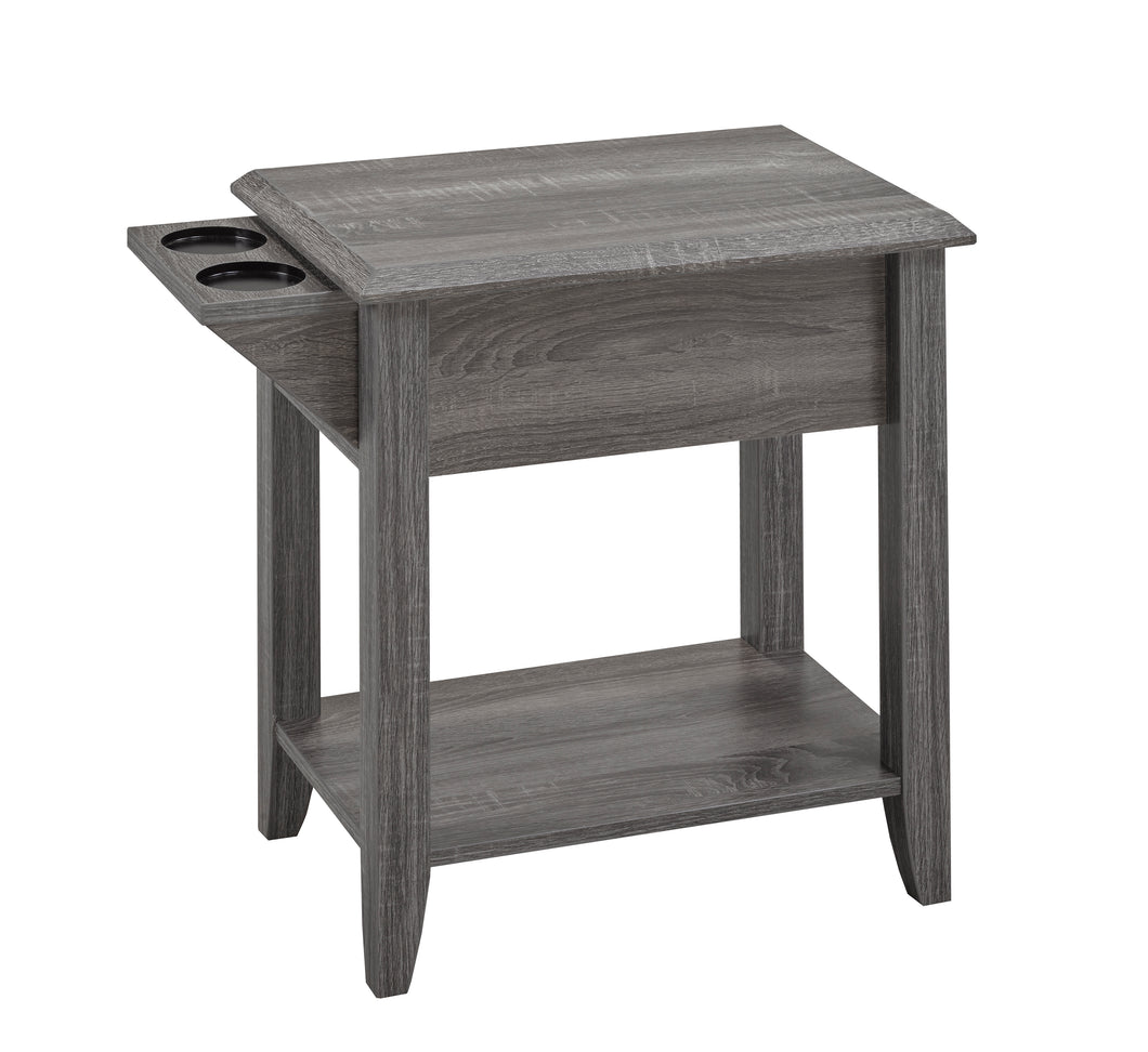 Carmen Side Table w/ Cupholders - Grey | Candace and Basil Furniture
