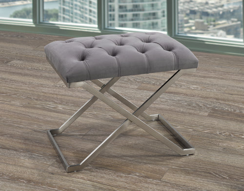 Sandro Ottoman - Grey Velvet | Candace and Basil Furniture