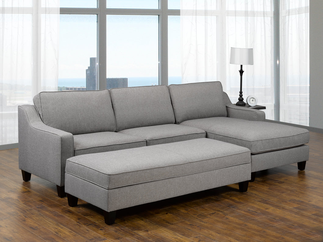 Uptown RHF Sectional + Storage Ottoman - Grey | Candace and Basil Furniture