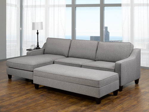 Uptown LHF Sectional + Storage Ottoman - Grey | Candace and Basil Furniture