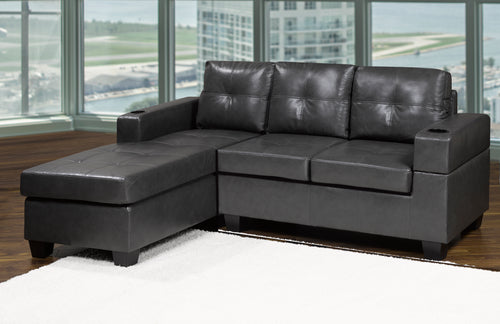 Denis LHF 3-Seater Sectional - Grey Leatherette