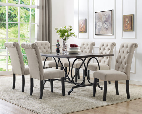 Tinga 7pc Dining Set - Beige | Candace and Basil Furniture