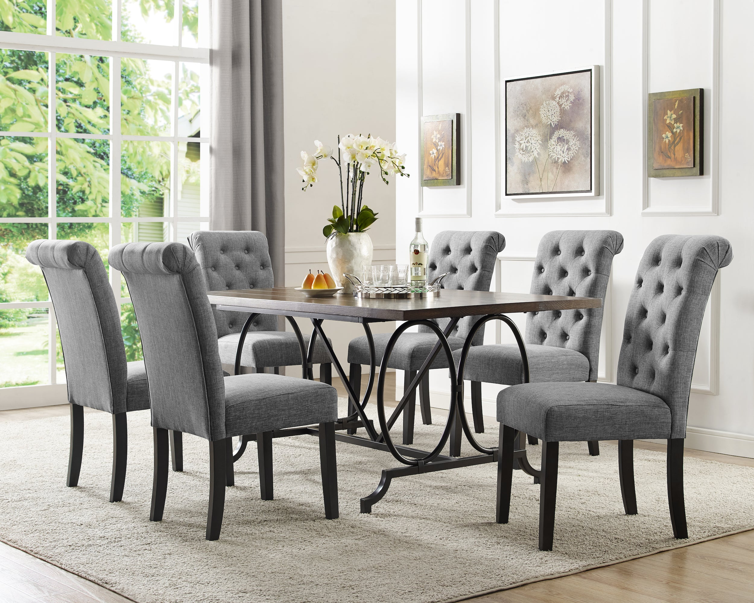 Tinga 7pc Dining Set - Grey | Candace and Basil Furniture