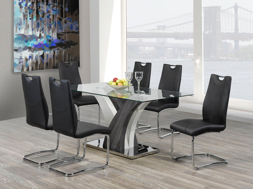 Jerome 7pc Dining Set - Black Chairs