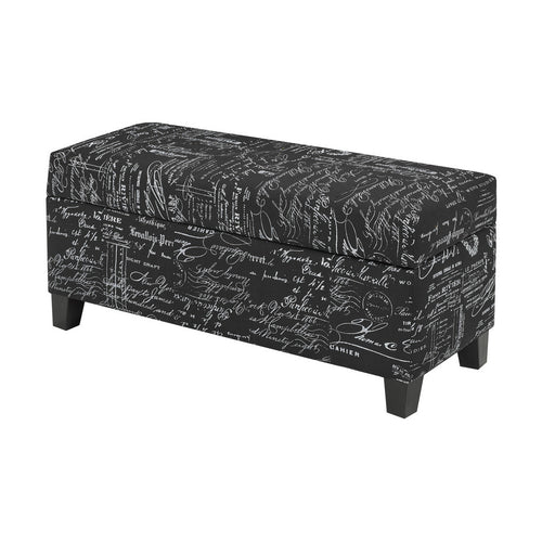 Zara Bench w. Storage (Black Scripted) | Candace and Basil Furniture