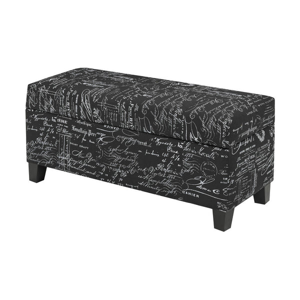 Candace & Basil Furniture |  Zara Bench w. Storage (Black Scripted)