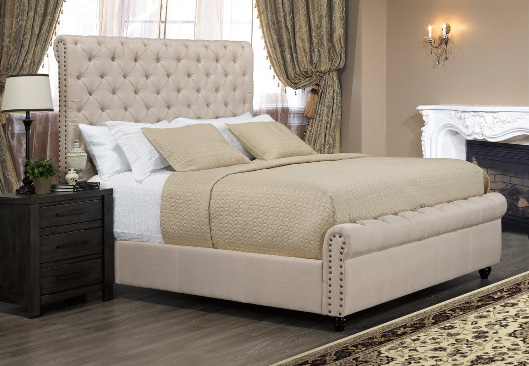 Tiffany Platform King Bed - Beige Linen | Candace and Basil Furniture