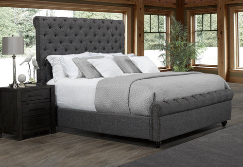 Tiffany Platform King Bed - Grey Linen | Candace and Basil Furniture