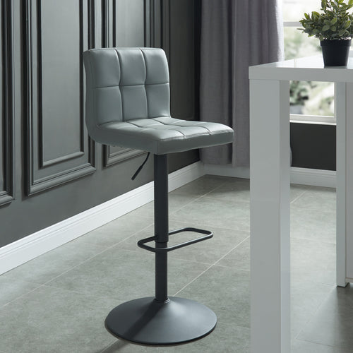 Fusion Gas Lift Stool - Grey Faux Leather/Metal (Set of 2)