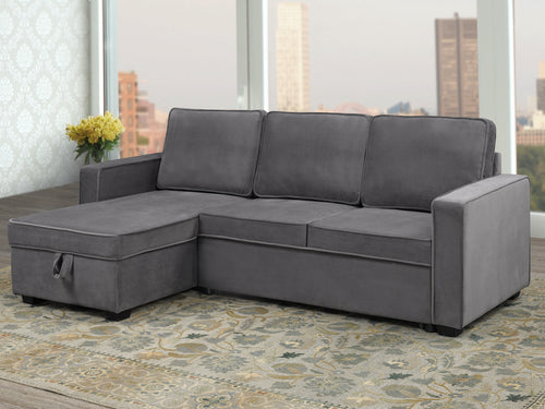 Milo Configurable LHF/RHF Sleeper Sectional - Grey Velvet