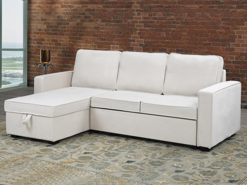 Milo Configurable LHF/RHF Sleeper Sectional - Cream Velvet