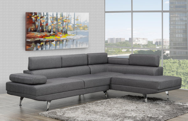 Aria RHF Sectional - Grey | Candace and Basil Furniture